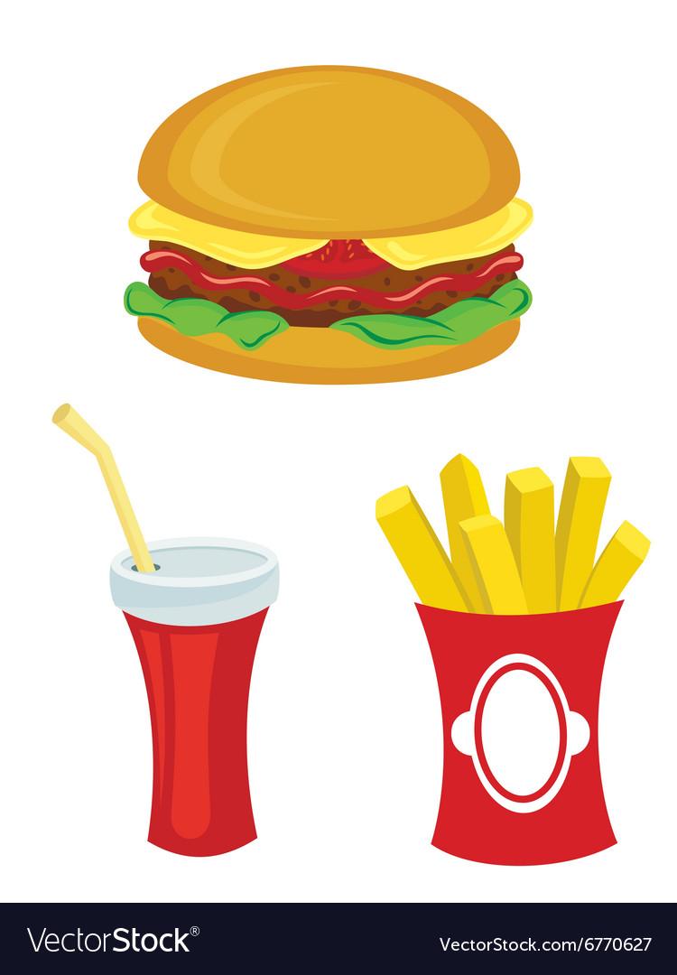 Fast food set Hamburger fries drink