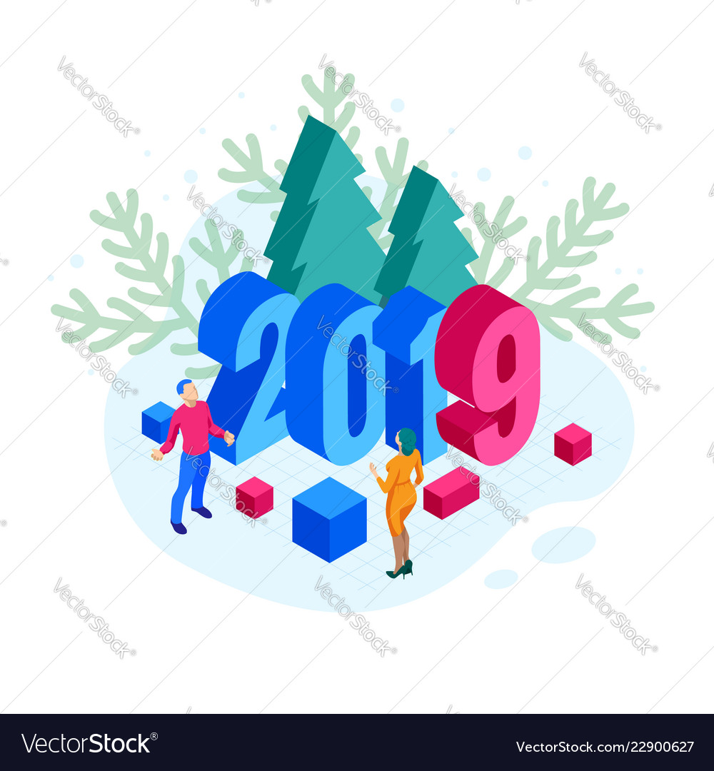 Isometric 2019 christmas or new year background