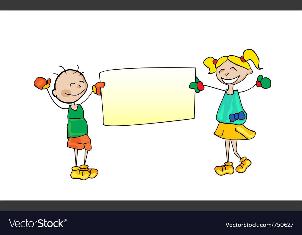 Kids holding cartoon