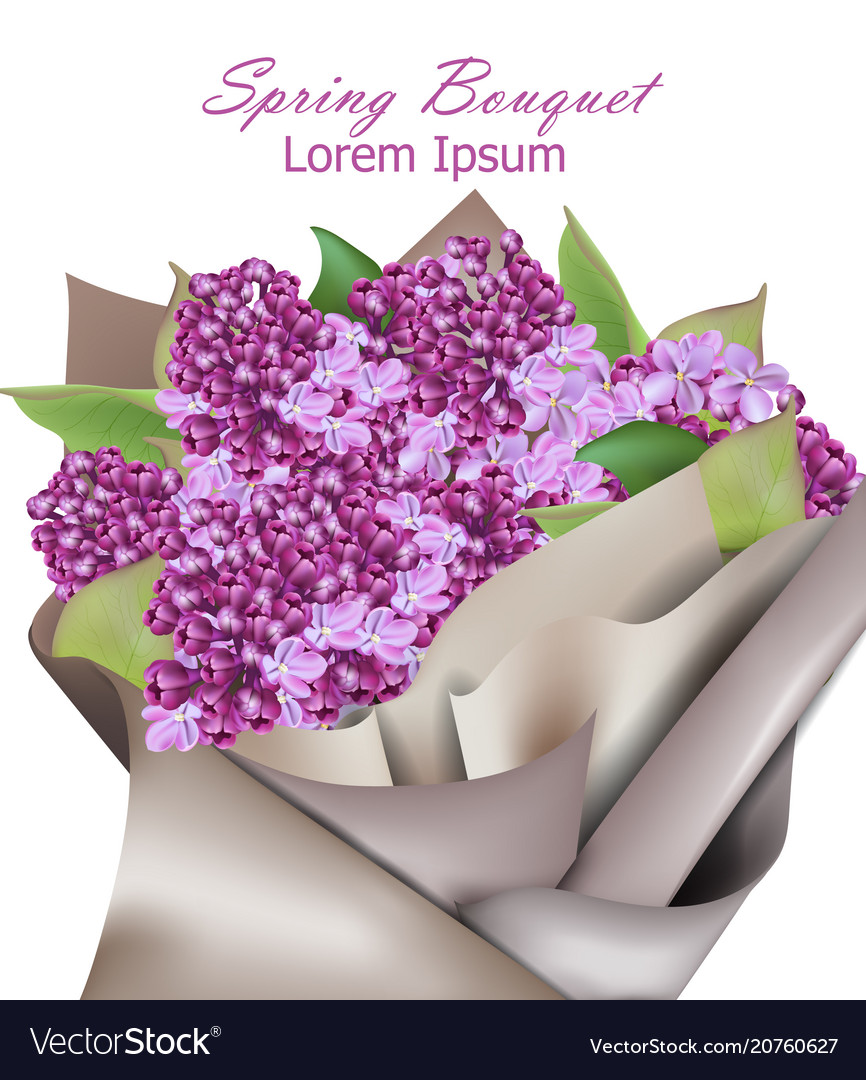 Lilac flowers background realistic spring