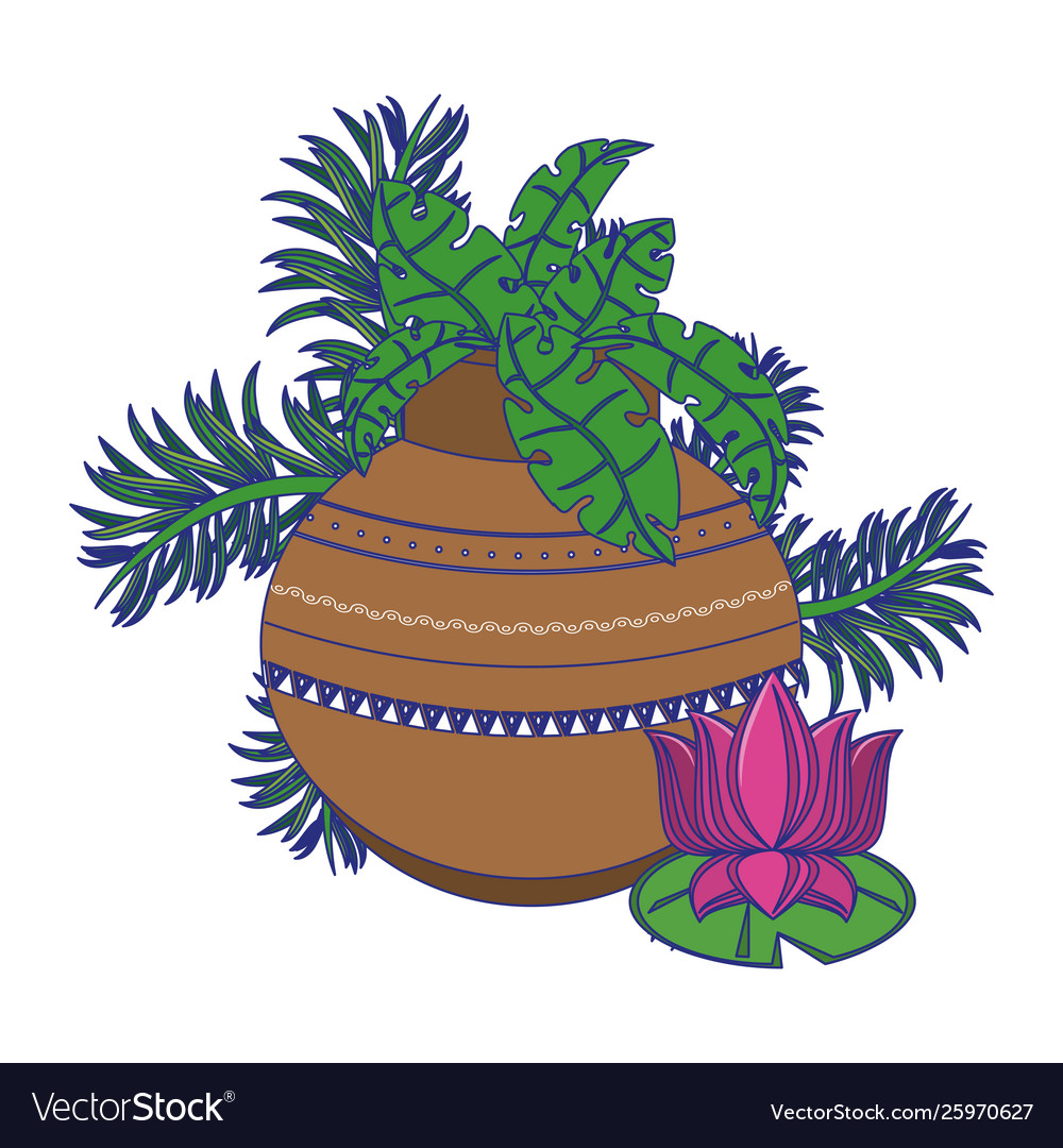 Lotus Flower And Pot With Leaves Cartoon Isolated Vector Image