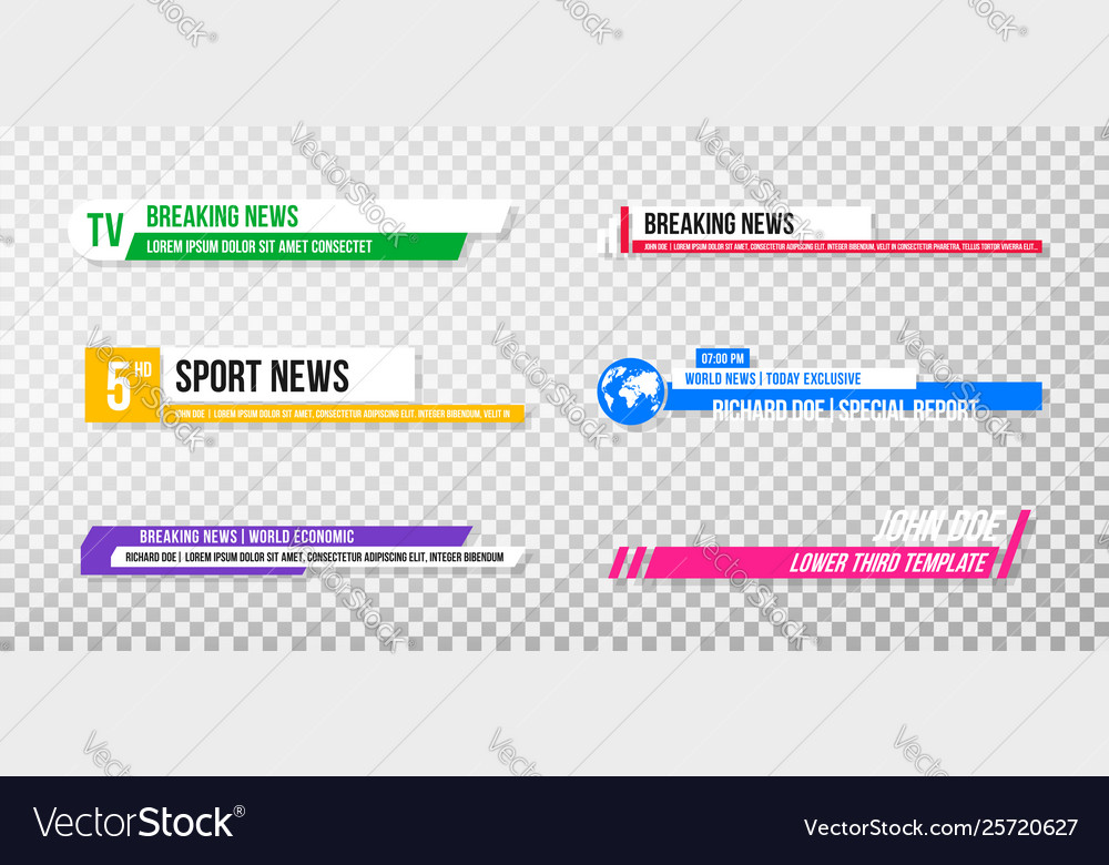 Lower third template set tv banners and bars
