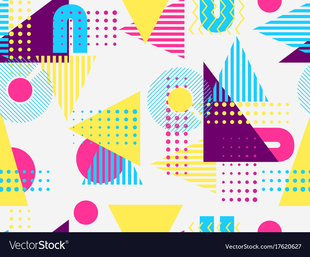 Memphis seamless pattern geometric elements