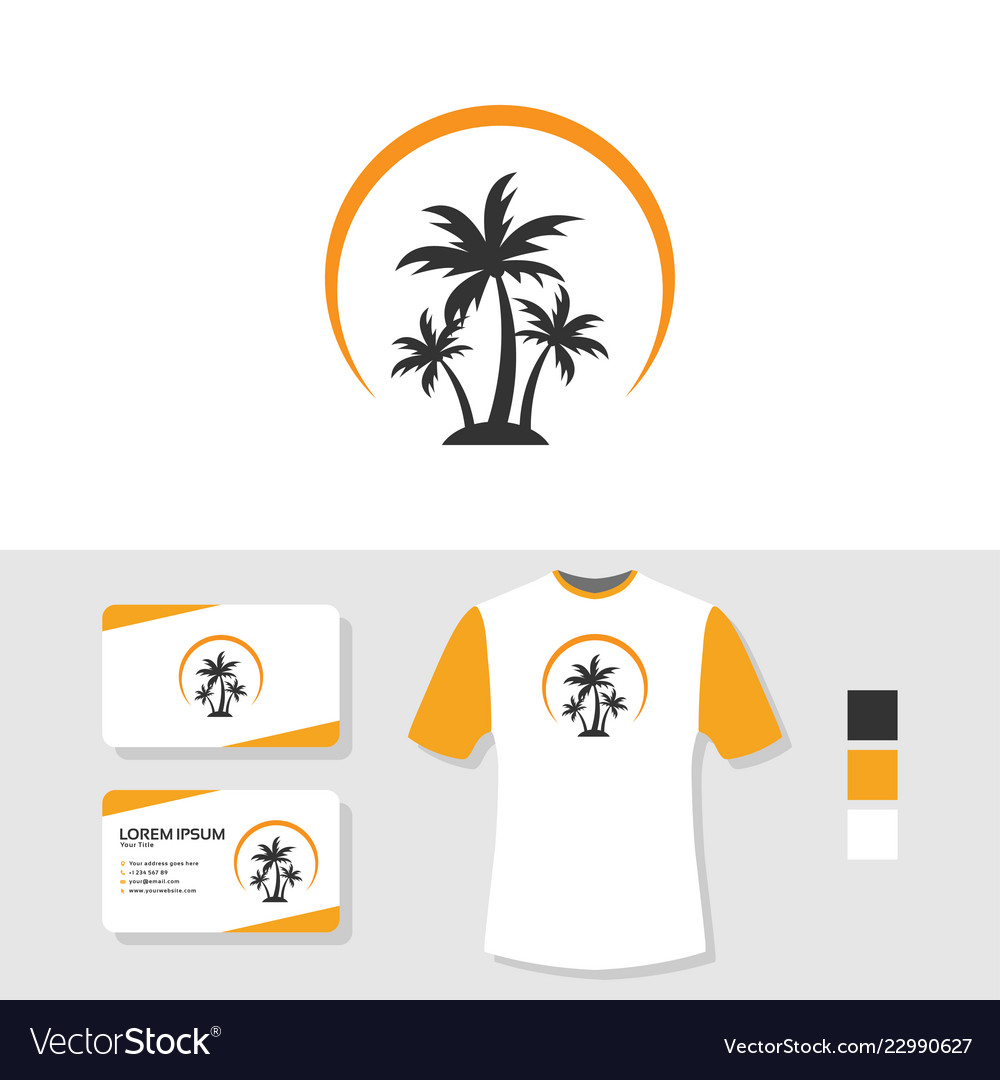 Palm tree logo design with business card and t