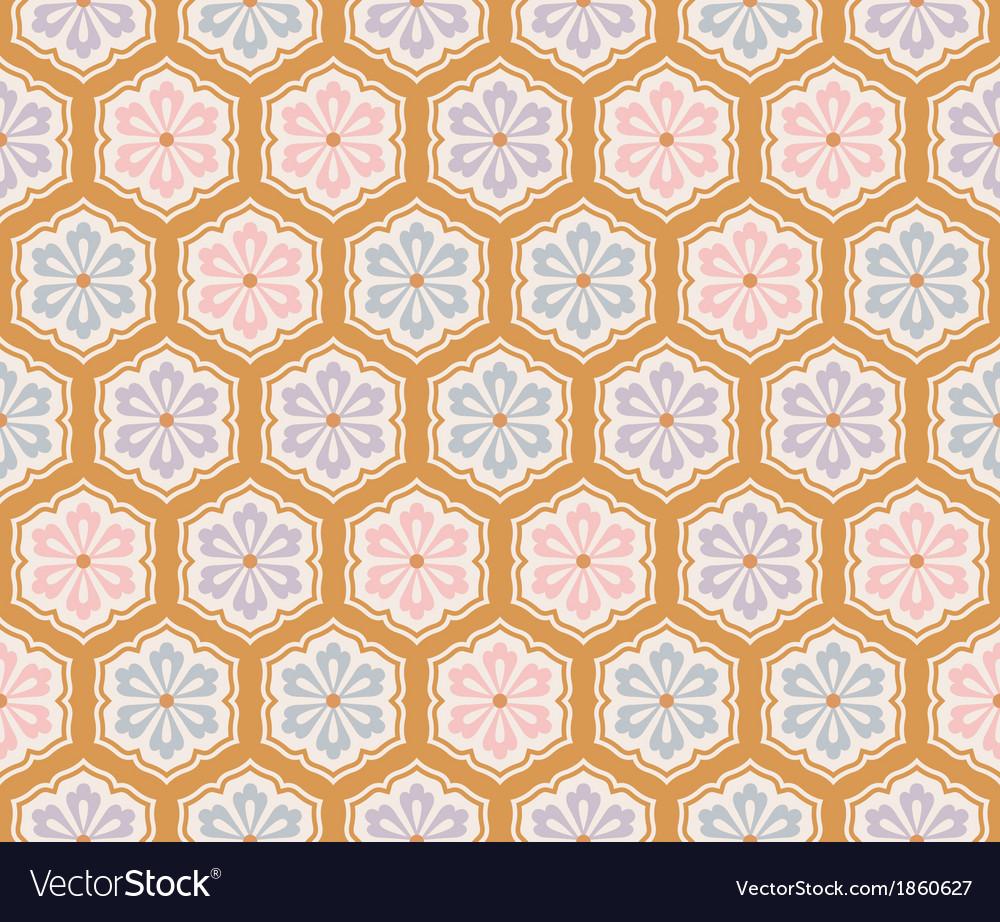 Seamless japanese flower pattern vector image
