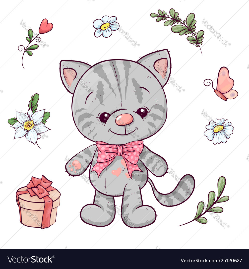 Set little kitty and flowers hand drawing