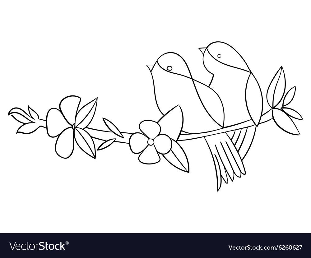 Tattoo stencil bird flower vector image