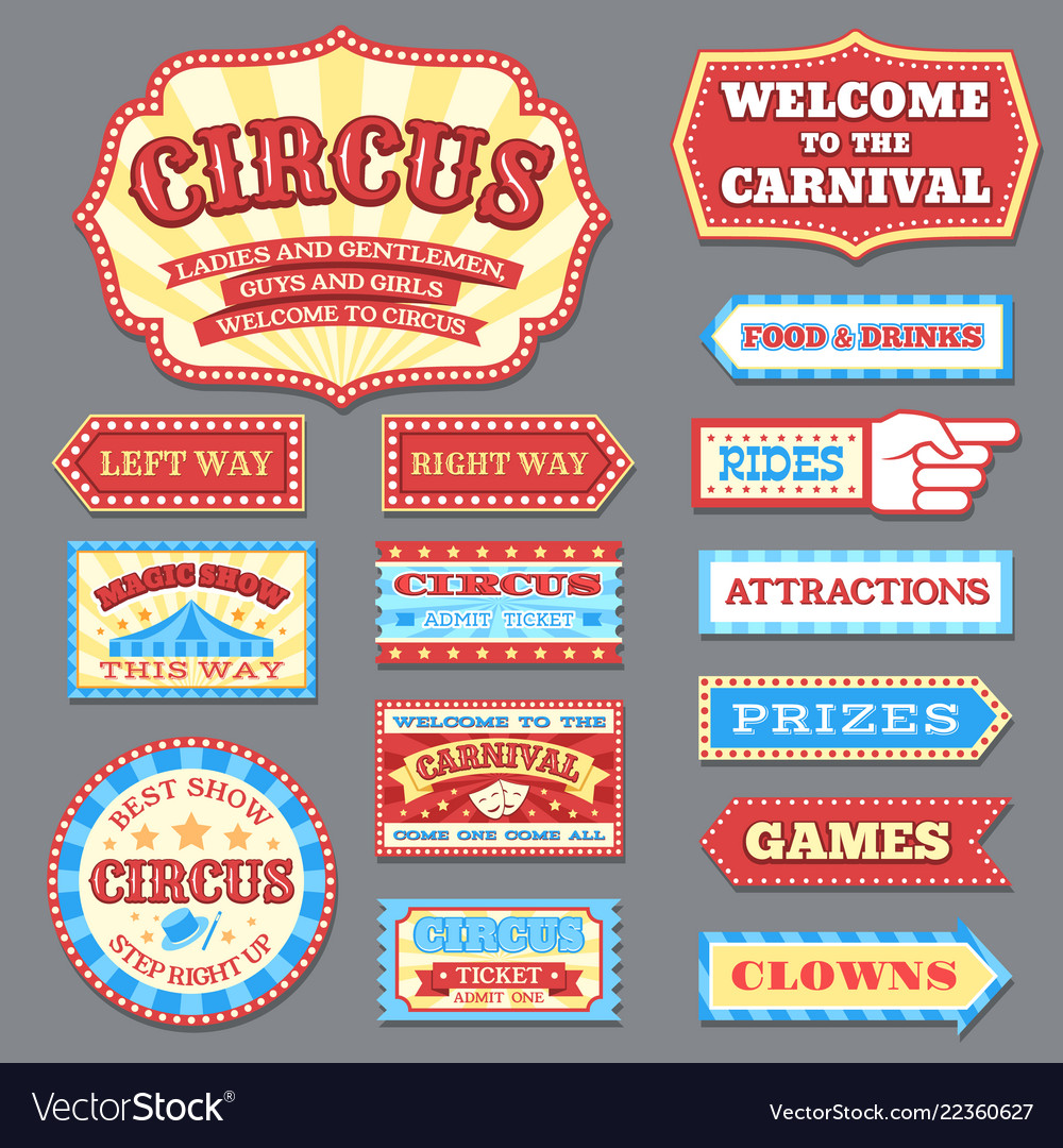 Vintage circus labels and carnival signboards