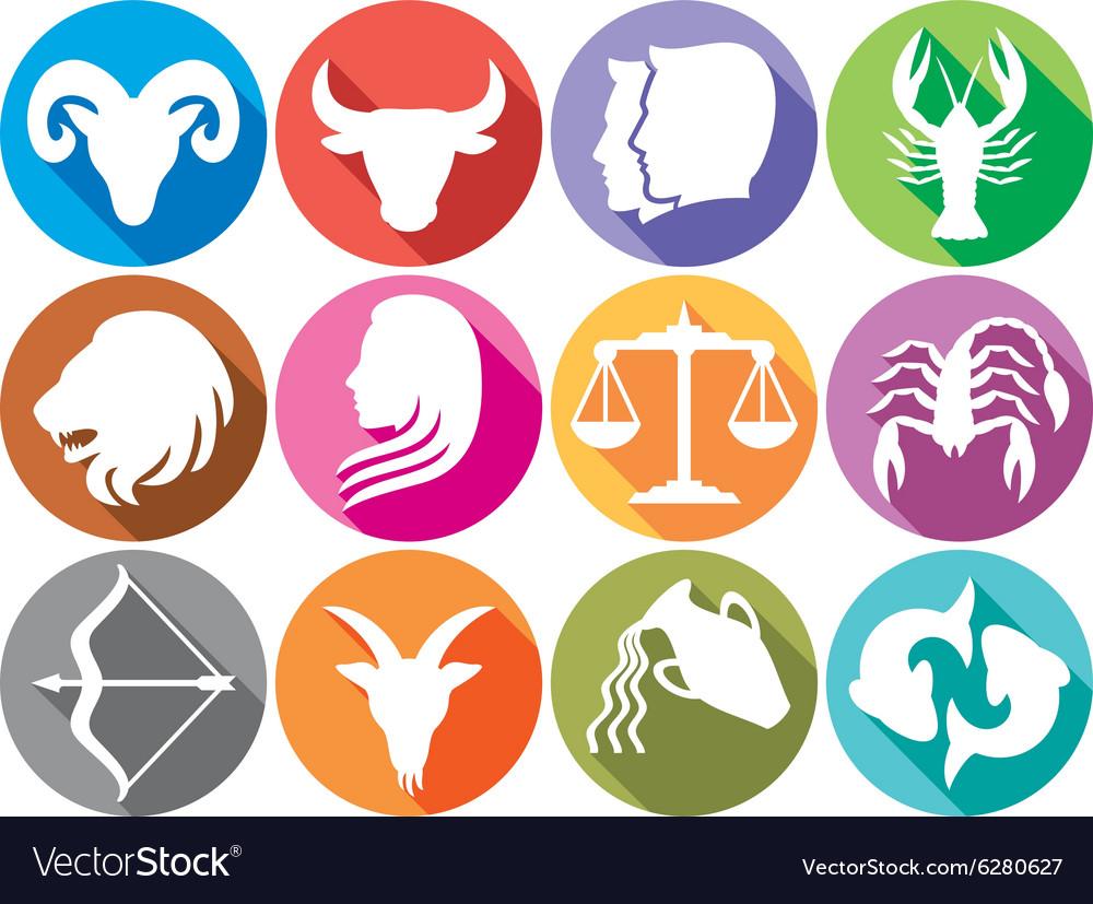 Zodiac Icon Set Royalty Free Vector Image Vectorstock