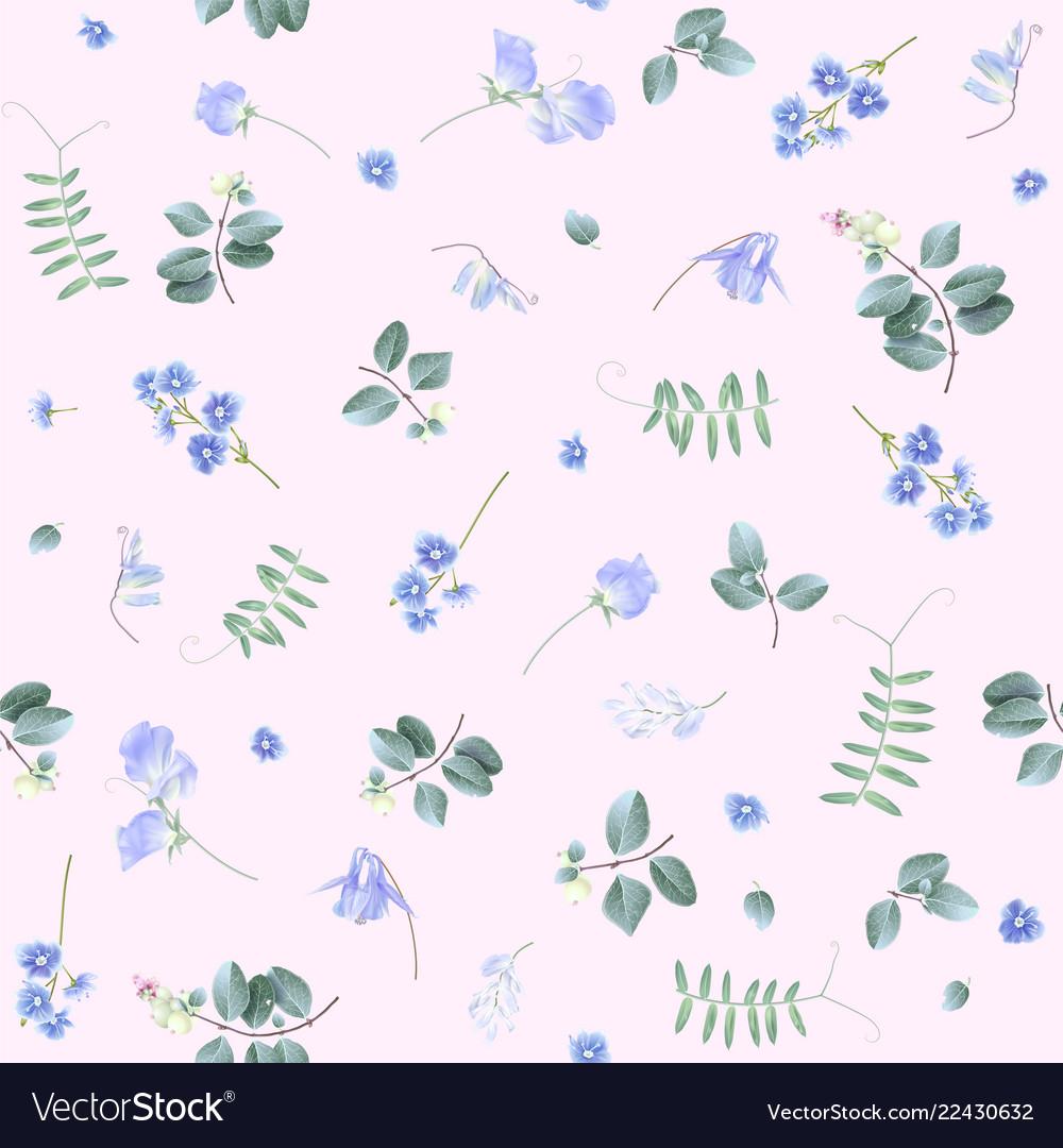 Blue flowers on pink bg floral pattern