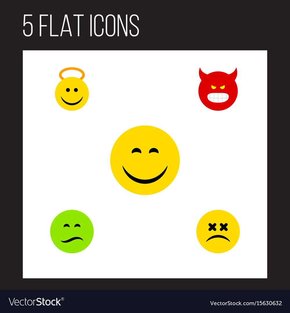 Flat icon emoji set of frown pouting cross-eyed