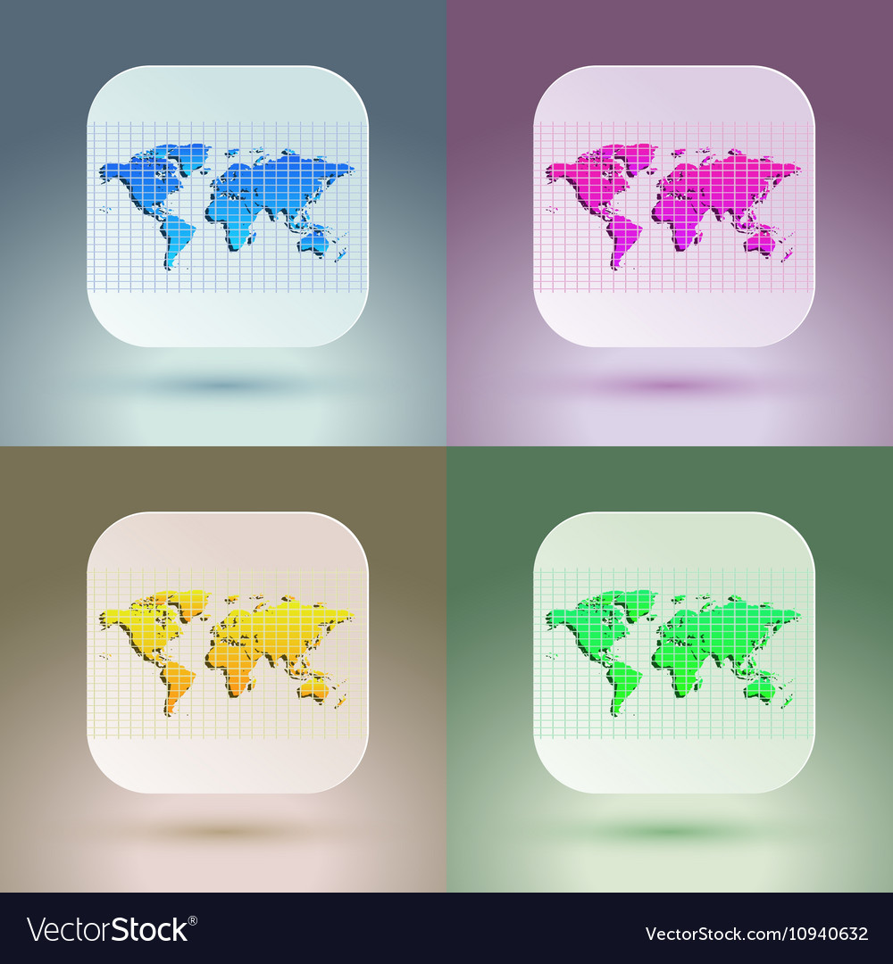 Flat map icon for application on soft background