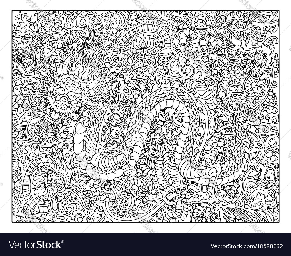 Hand drawn dragon against floral pattern