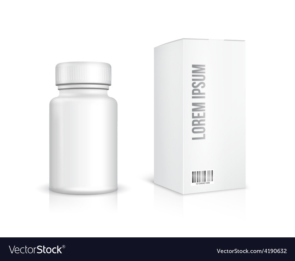 Medicine bottle on white background vector image