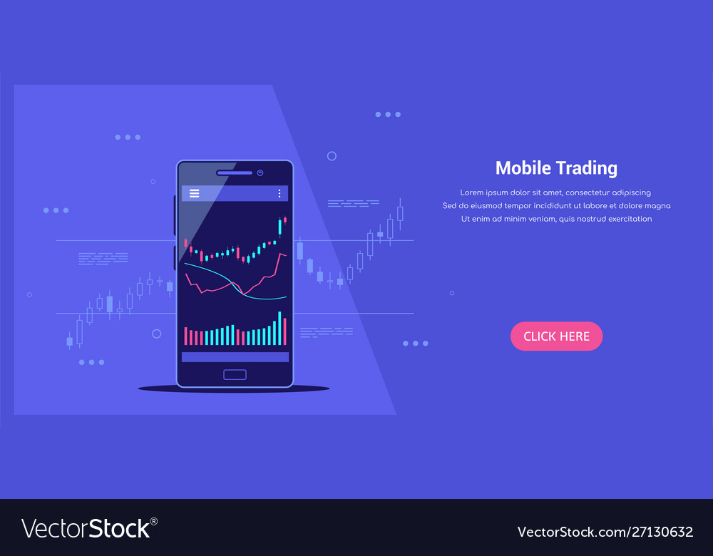 Mobile trading banner online trading flat style