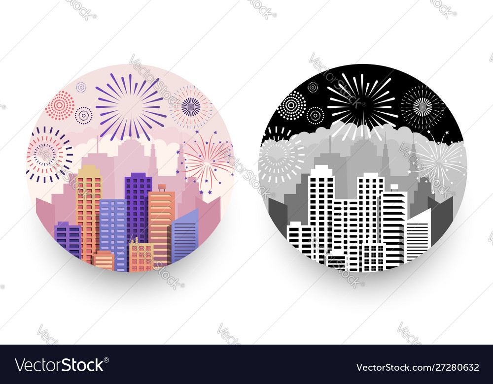 Modern cityscapes and fireworks round badges