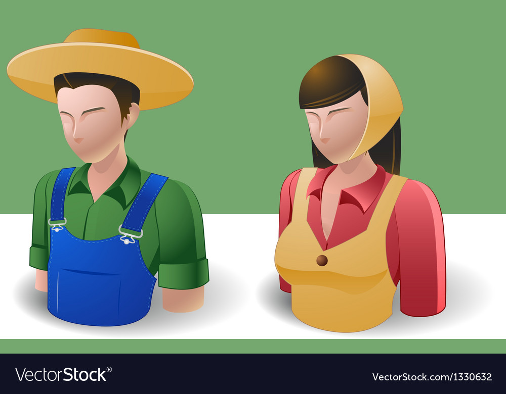 People Icons Farmer Man and Women vector image