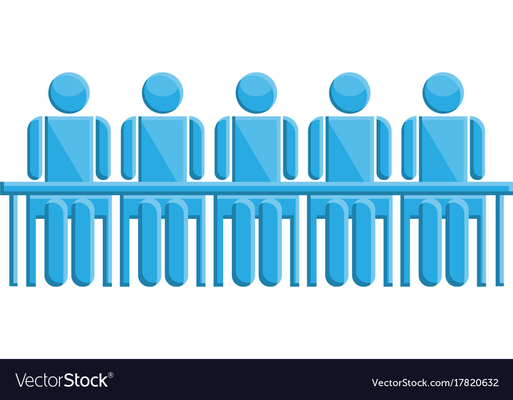 People in meeting blue business symbol