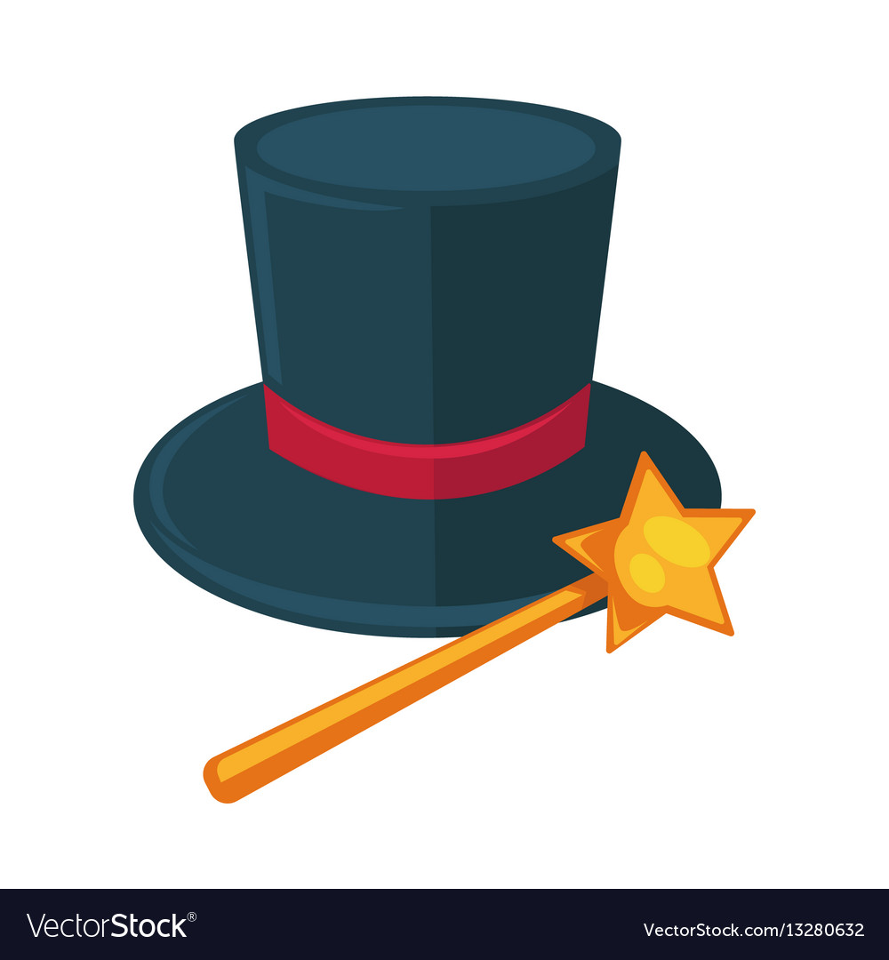 Realistic magician dark hat with purple ribbon and