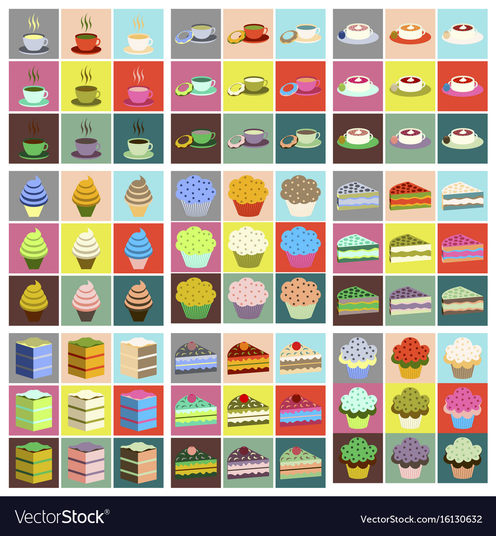 wedding cakes set sweet bakery posters set