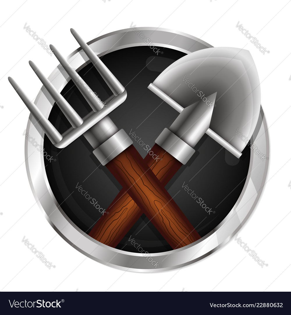 Shovel and pitchfork in a circle symbol