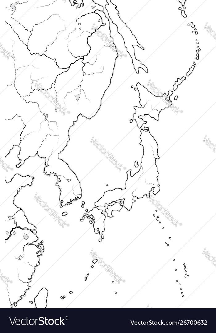 World Map Japanese Archipelago Japan Nippon Nihon