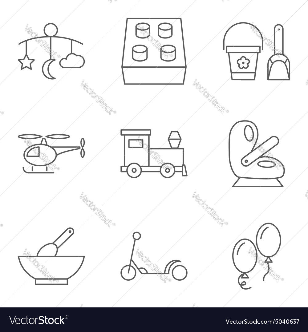 Baby thin line related icon set
