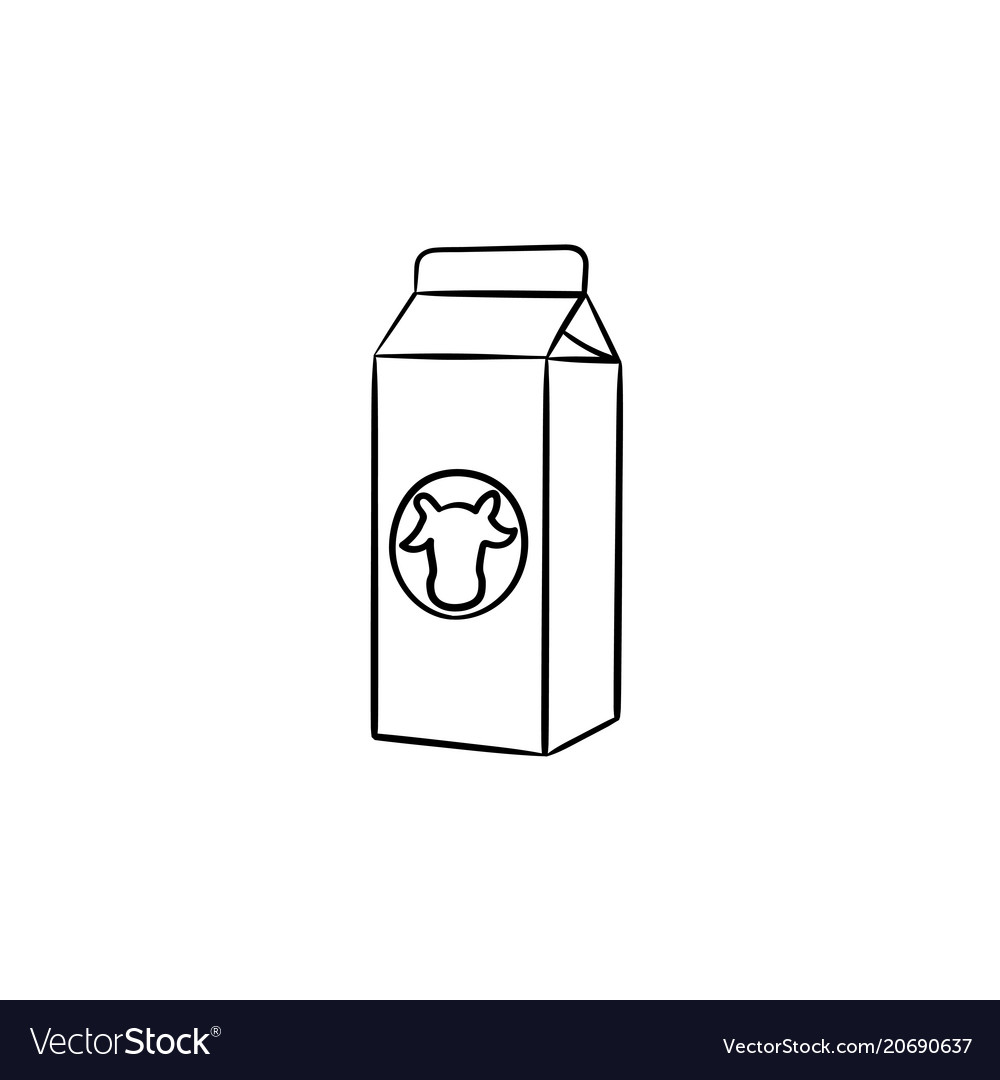 carton box of milk hand drawn sketch icon vector image