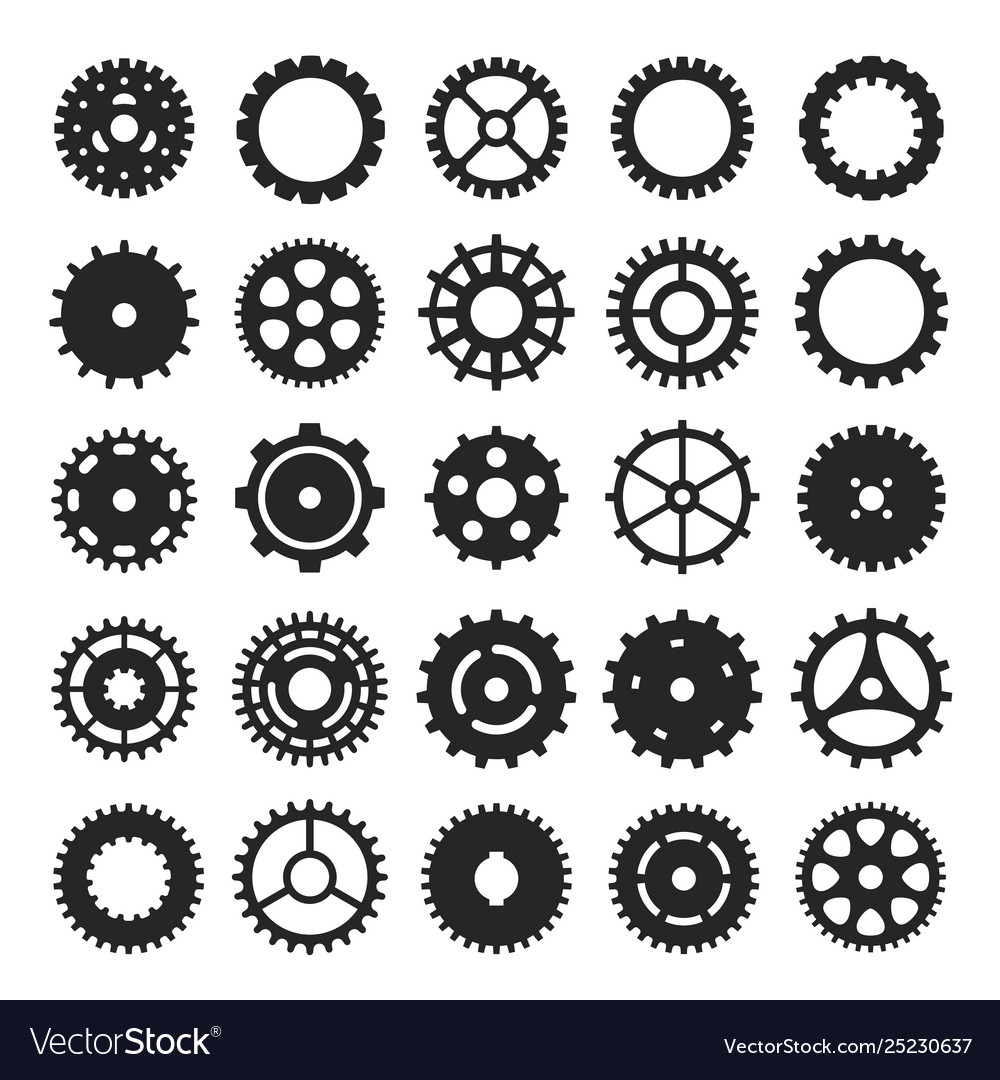 Cogs and gears icon set mechanism or machinery