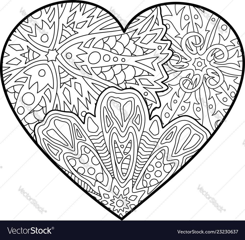 Coloring book page with beautiful decorative heart