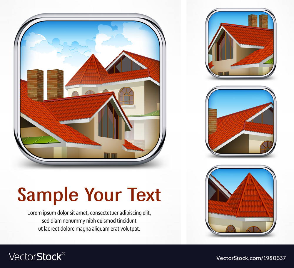 Icon set with red tile roof