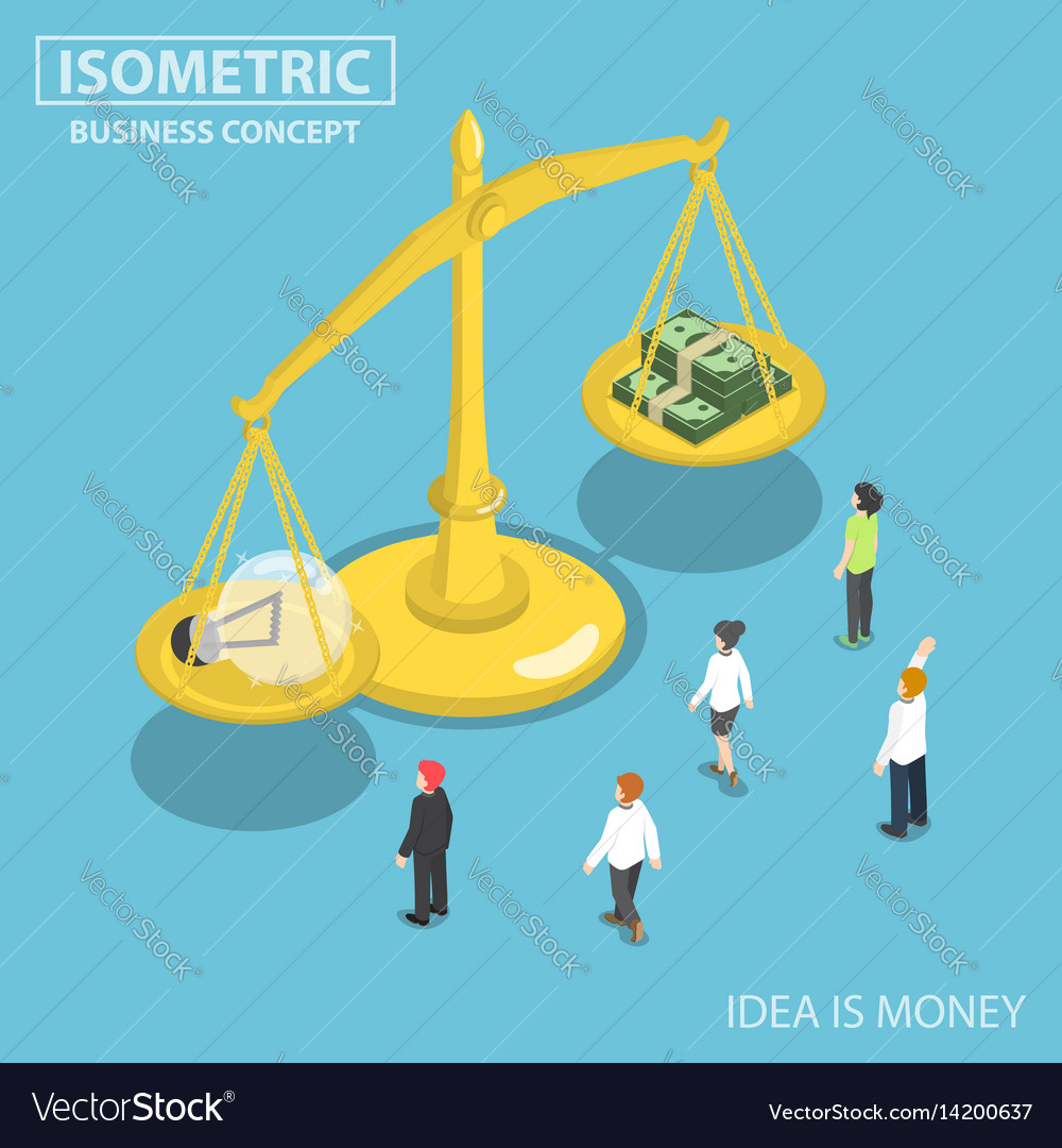 Isometric business people looking at lightbulb of