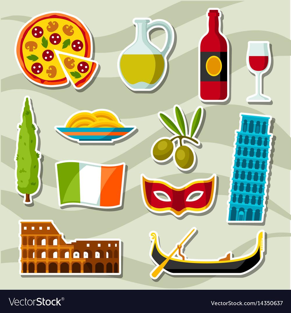 Italy Icons Set Italian Sticker Symbols And Vector Image