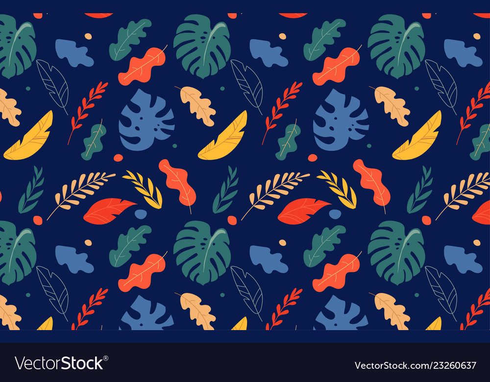 Seamless tropical leaves pattern jungle colorful