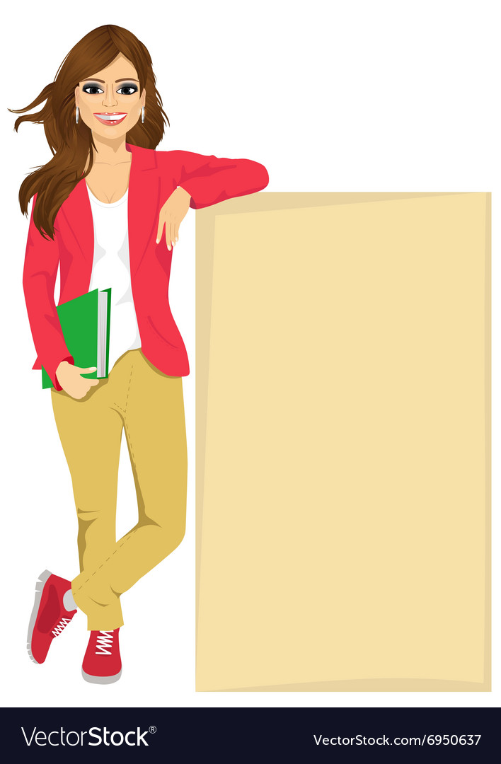 Student girl leaning against a blank board