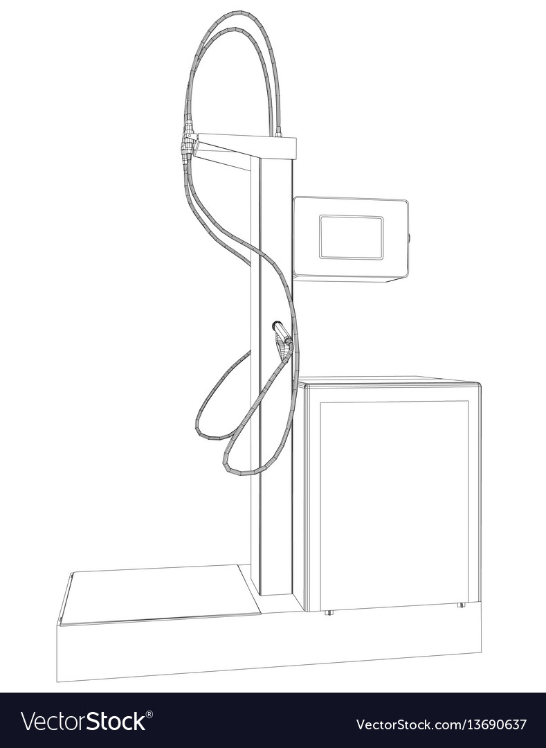 Wire-frame oil and gas station equipment Vector Image