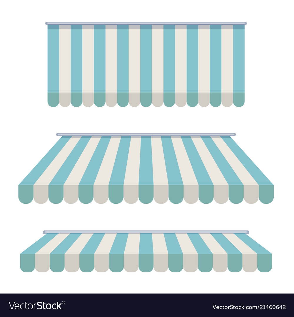 A set of striped awnings canopies for the store