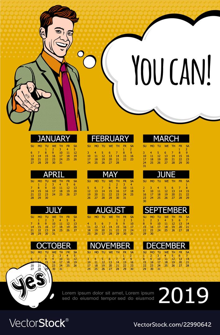 Business motivation 2019 year calendar poster