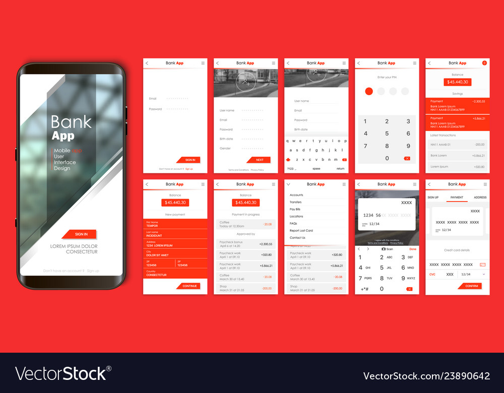 Design of the mobile application ui ux a set of