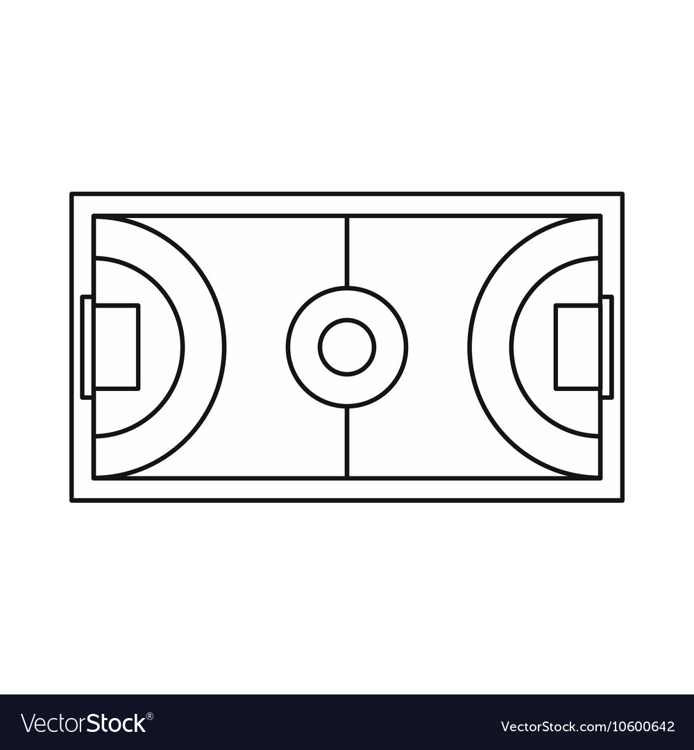 futsal or indoor soccer field icon outline style vector image vectorstock