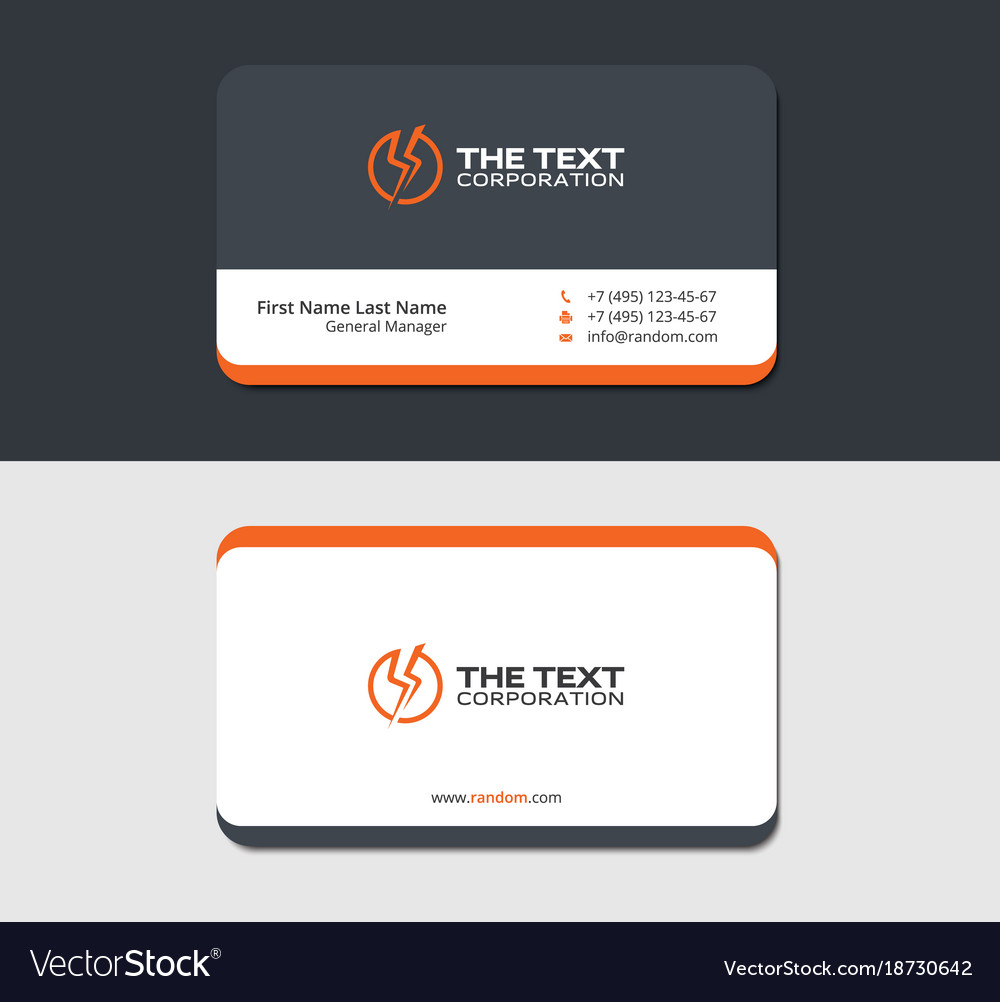 Grayish business card with electric symbol vector image colourmoves