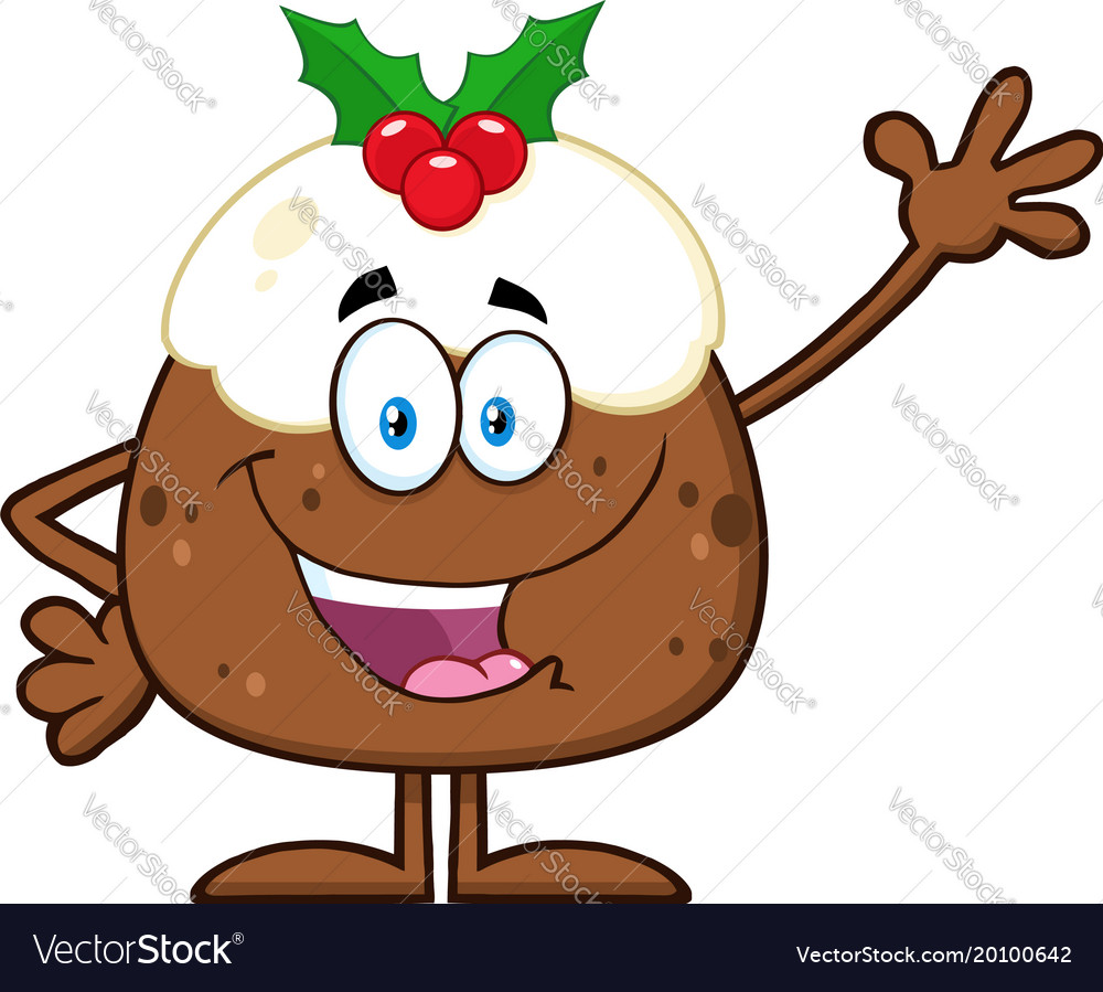 Happy christmas pudding cartoon character