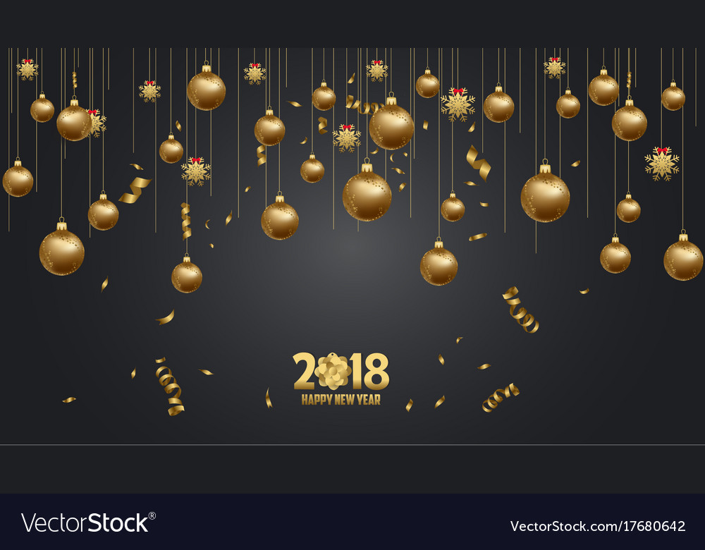 happy new year 2018 wallpaper gold and black vector image