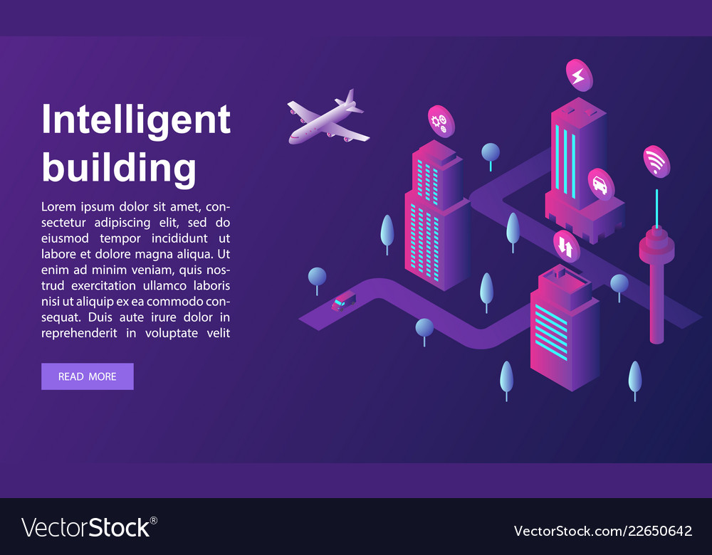 Intelligent building concept banner isometric