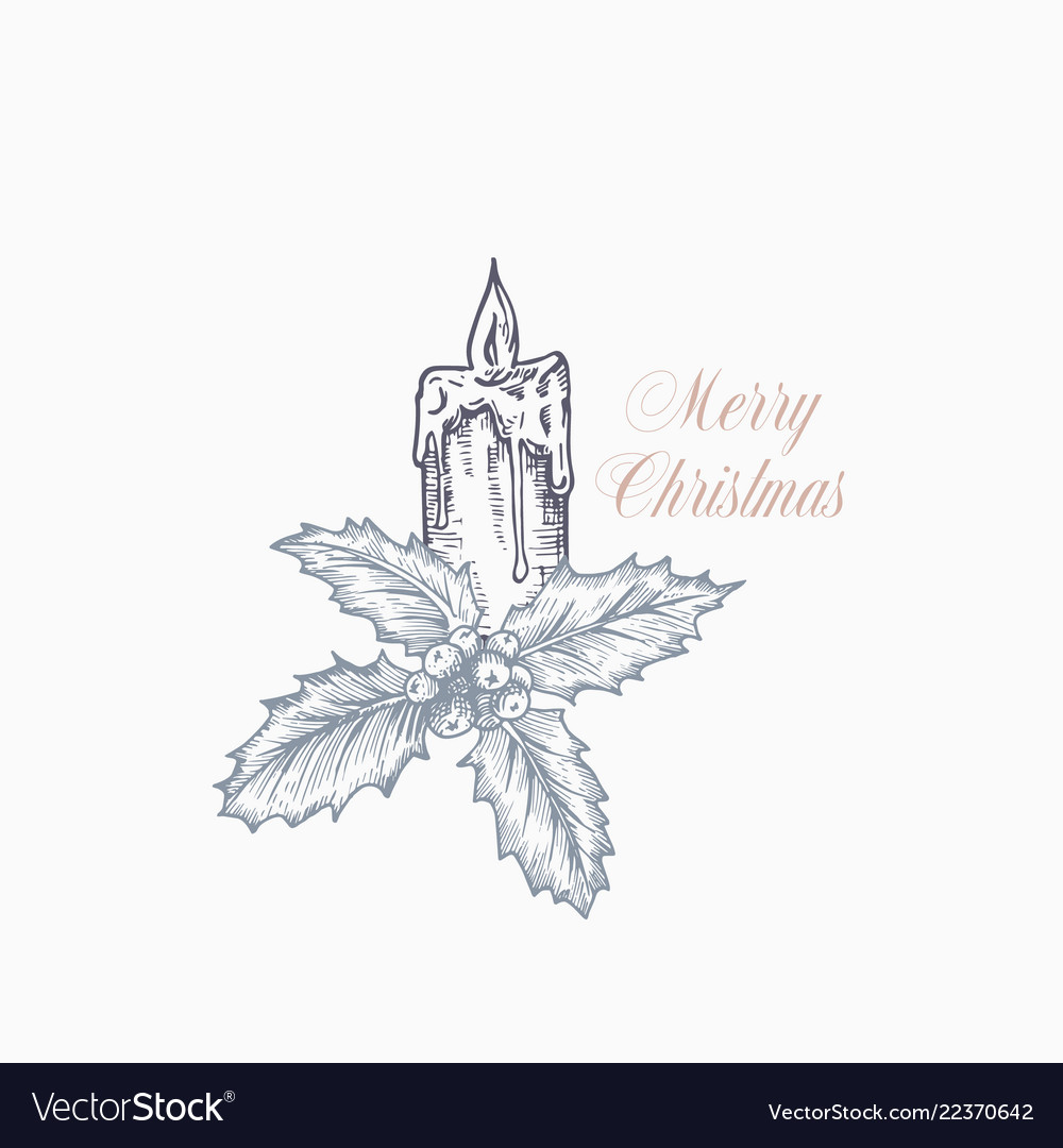 Merry christmas greeting card or label hand drawn