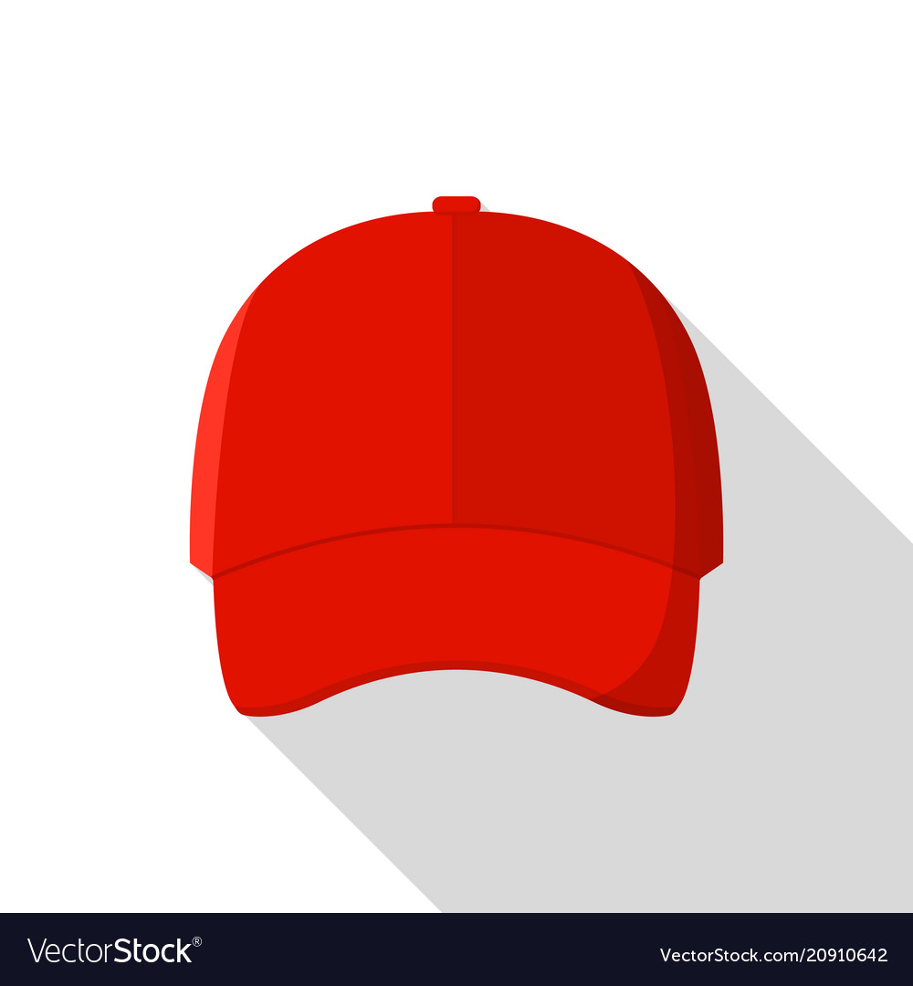 60ccfb97006 Red front baseball cap icon flat style Royalty Free Vector