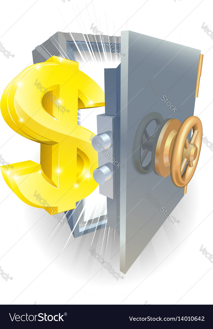 Safe with gold dollar sign