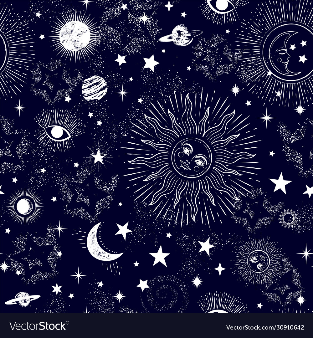 Space galaxy constellation seamless pattern print