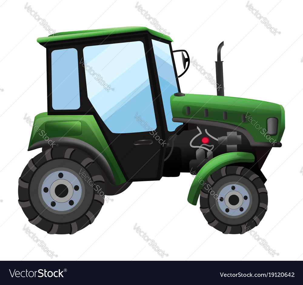Tractor of green tractor in a