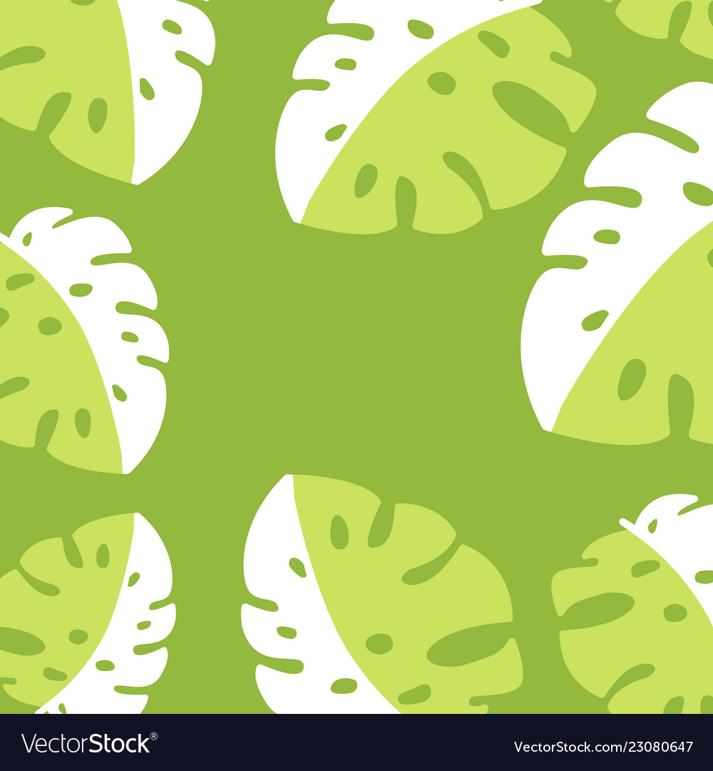 Banner poster with palm leaves jungle leaf